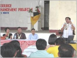 Vice Gov. Noel Catre (standing) delivered a message to the Sison stakeholders during the project launching.